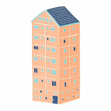 Little Block of Flats - hand-drawn and digitally coloured